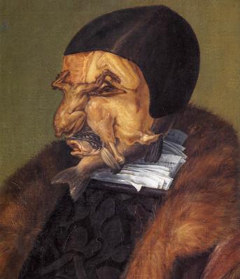 O jurista (detalhe), óleo sobre tela por Giuseppe Arcimboldo (1527-1593, Italia)