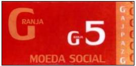 Réplica de uma nota da moeda social