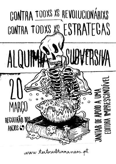 Jantar de apoio à editora Textos Subterrâneos: 20 de Março pelas 20h no RDA69