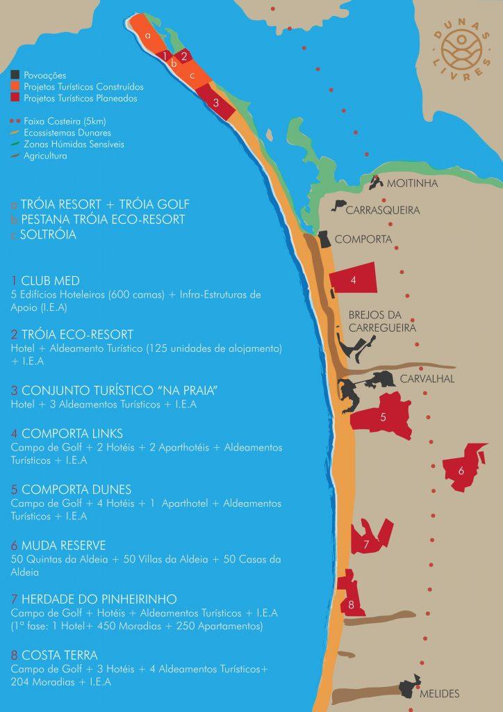 Infografia sobre os Projectos Turísticos, já construídos ou planeados, entre Tróia e Melides. Fonte: Movimento Dunas Livres